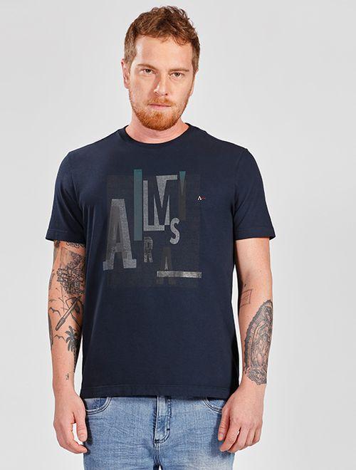 Camiseta Lettering Marinho