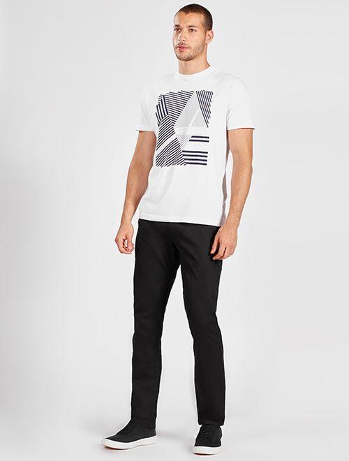 Camiseta Manga Curta Malha Geométrico Branco