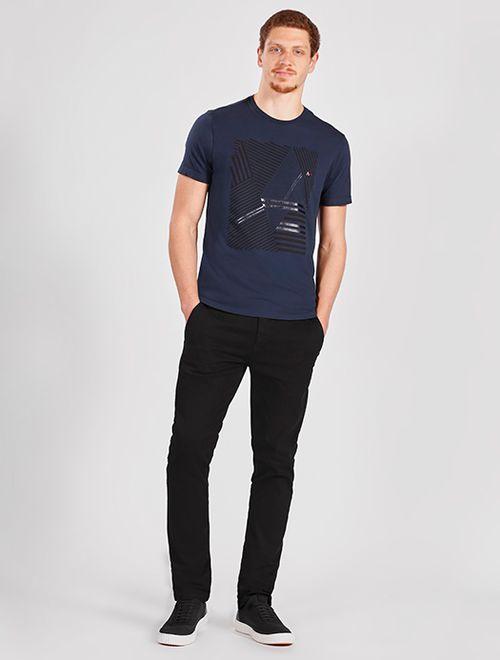 Camiseta Manga Curta Malha Geométrico Marinho