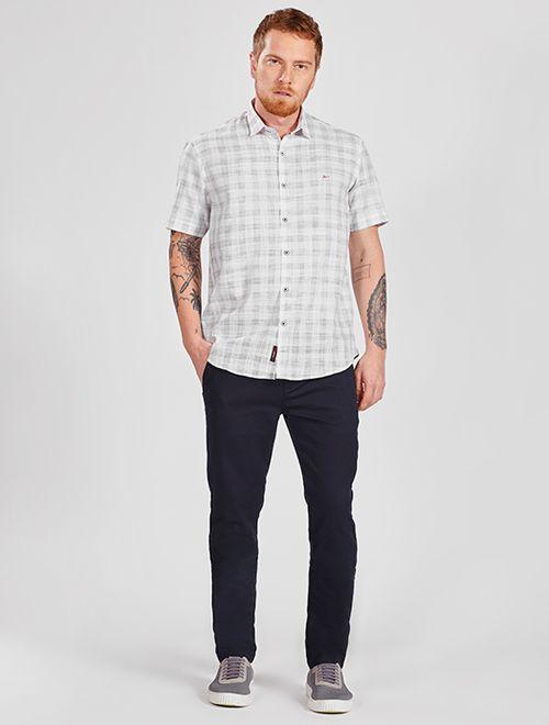 Camisa Manga Curta Xadrez Slim Jeanswear Branco