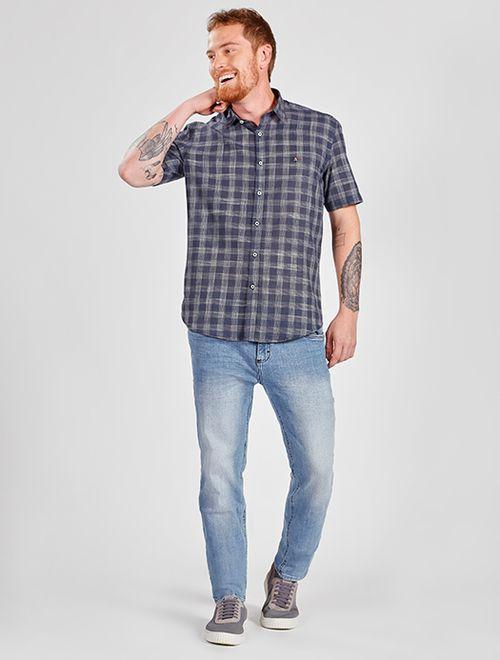 Camisa Manga Curta Xadrez Slim Jeanswear Marinho
