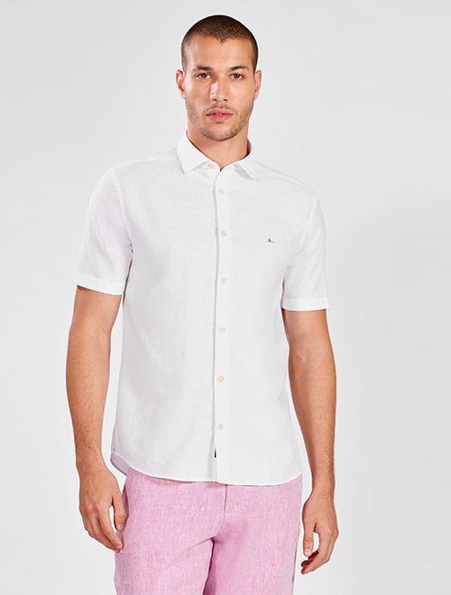 Camisa Manga Curta Jeasnwear Slim Em Linho Branco