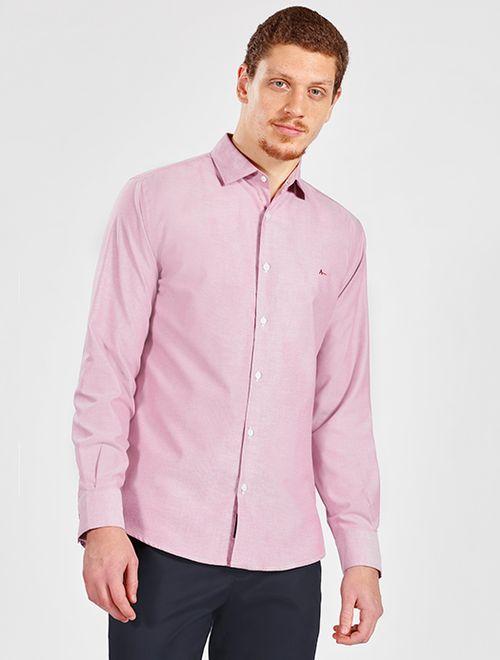 Camisa Manga Longa Casual Regular Oxford Vermelho