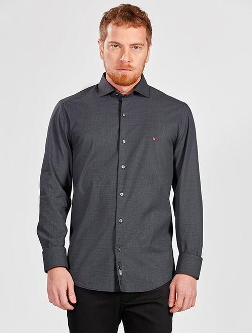 Camisa Manga Longa Slim Estampada Geométrica Night Chumbo