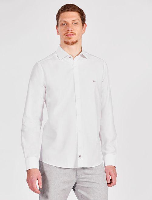 Camisa Manga Longa Night x Regular Fio 70 Jacquard Branco