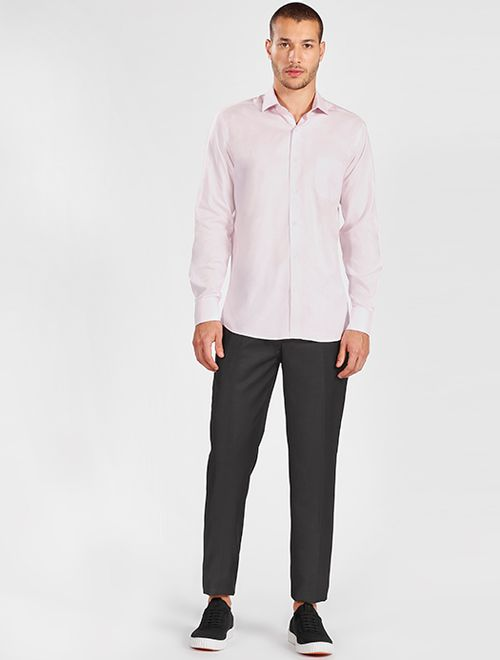 Camisa Manga Longa Social Regular Maquinetada Sem Logo Rosa