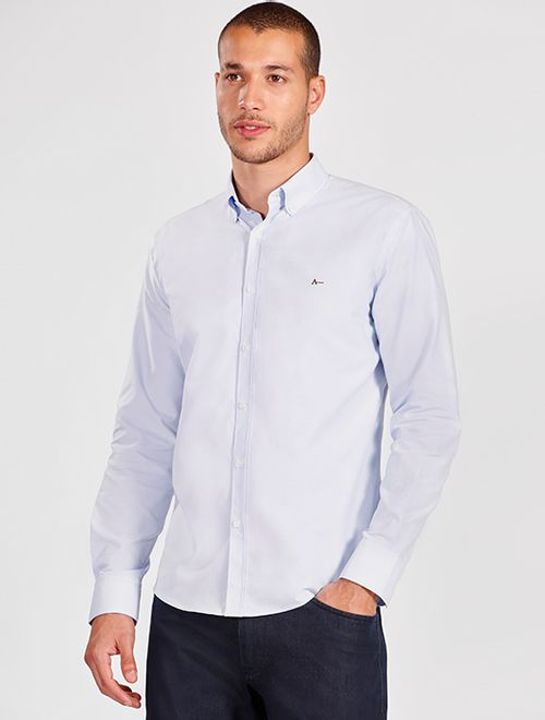 Camisa Manga Longa Casual Slim Oxford Button Down Azul Claro
