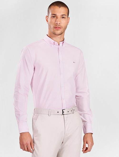 Camisa Manga Longa Casual Slim Oxford Button Down Rosa