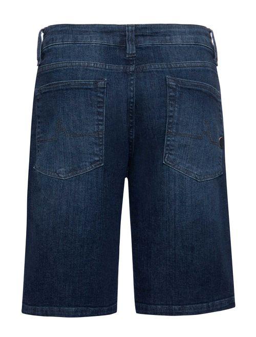 Bermuda Jeans 5pockets Estonada Com Amassado Azul Medio