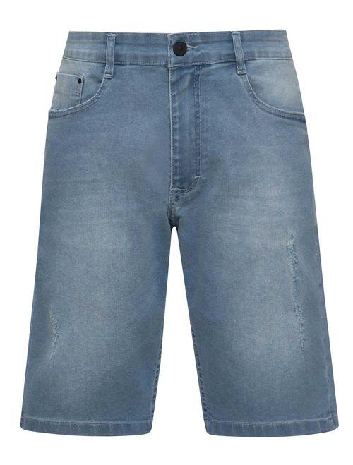 Bermuda Jeans Estonada Puídos 5 Pockets Azul Claro