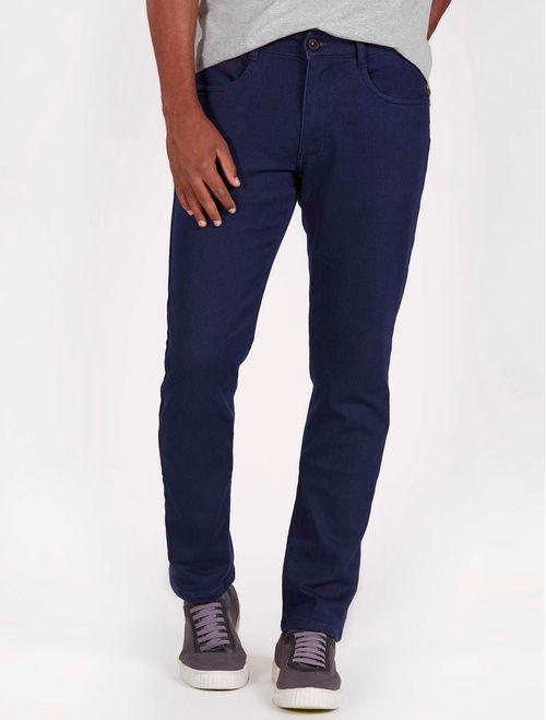 Calca Jeans Regular Amaciada Moletom 5pockets Azul Escuro