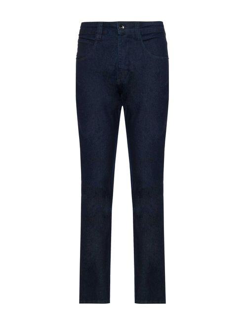 Calca Jeans Regular 5 Pockets Amaciada Azul Escuro