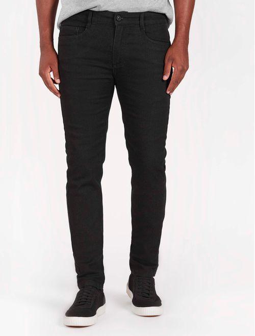 Calca Jeans Super Slim 5 Pocket Moletom Comfort Preto