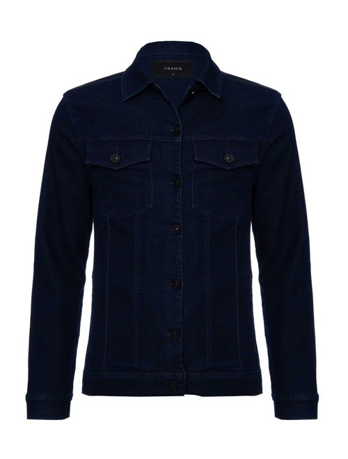 Jaqueta Jeans Moletom Azul Escuro
