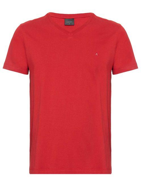 Camiseta Manga Curta Gola v Malha Lisa Vermelho