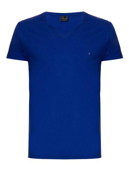 Camiseta Manga Curta Gola v Malha Lisa Azul Bic
