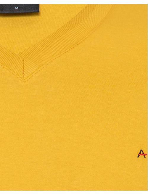 Camiseta Manga Curta Gola v Malha Lisa Mostarda