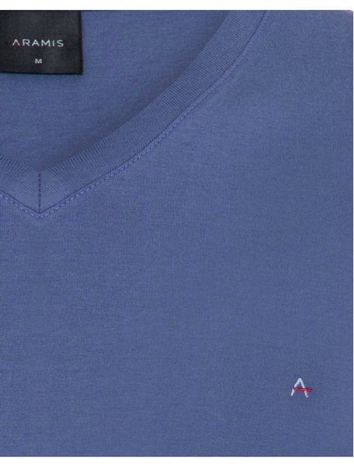 Camiseta Manga Curta Gola v Malha Lisa Azul Medio