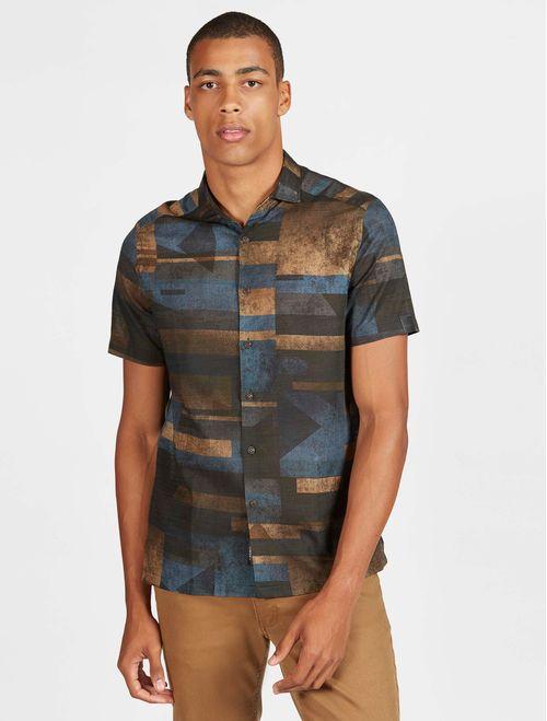 Camisa Manga Curta Jeanswear Slim Estampada Marrom Com  Marinho