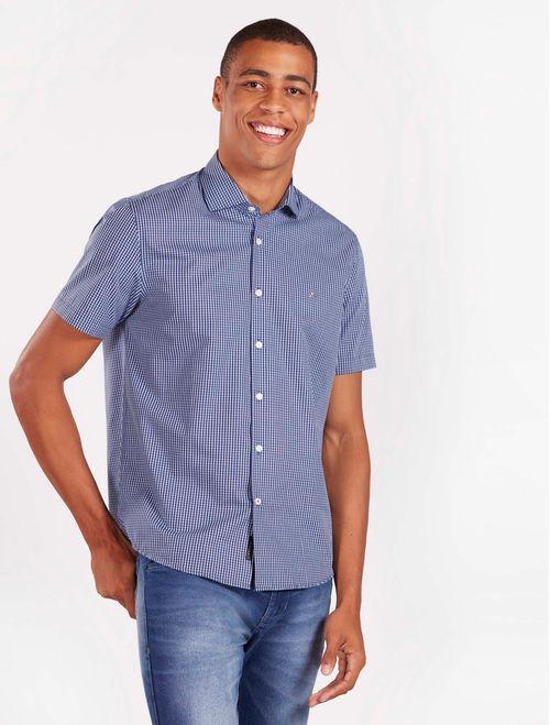 Camisa Xadrez Manga Curta Casual Regular Marinho
