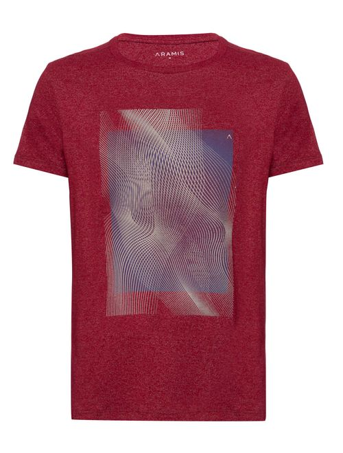 Camiseta Manga Curta Malha Abstrata Vermelho
