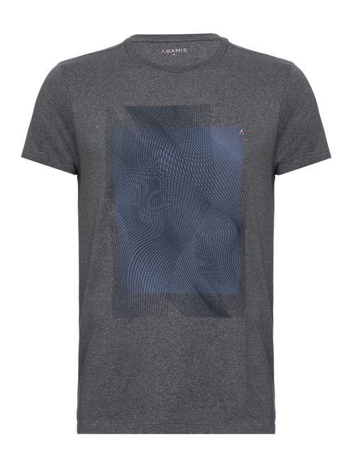 Camiseta Manga Curta Malha Abstrata Chumbo