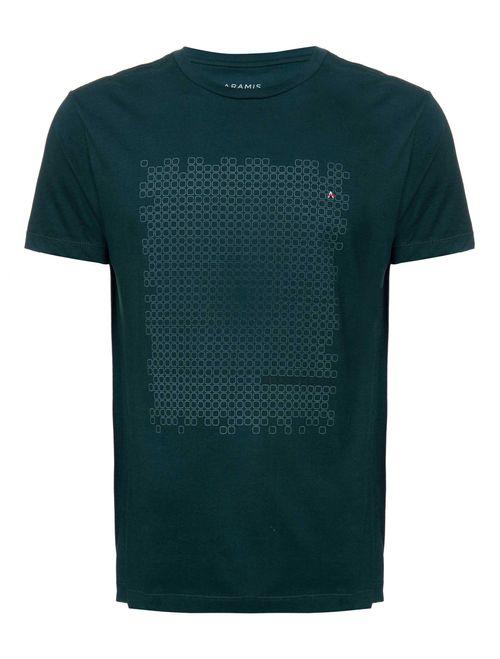 Camiseta Manga Curta Estampada Geométrica Malha Petroleo