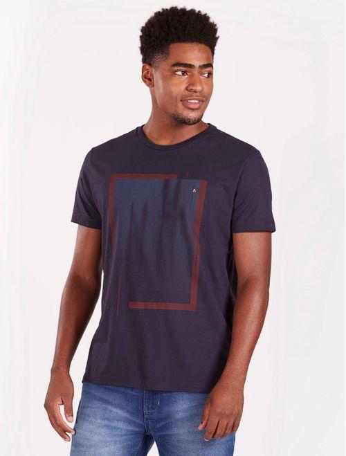 Camiseta Manga Curta Estampada Abstrata Malha Tinturada Marinho