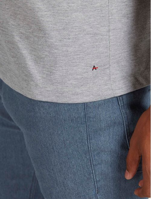 Camiseta Antiviral Estampada Manga Curta Cinza Mescla