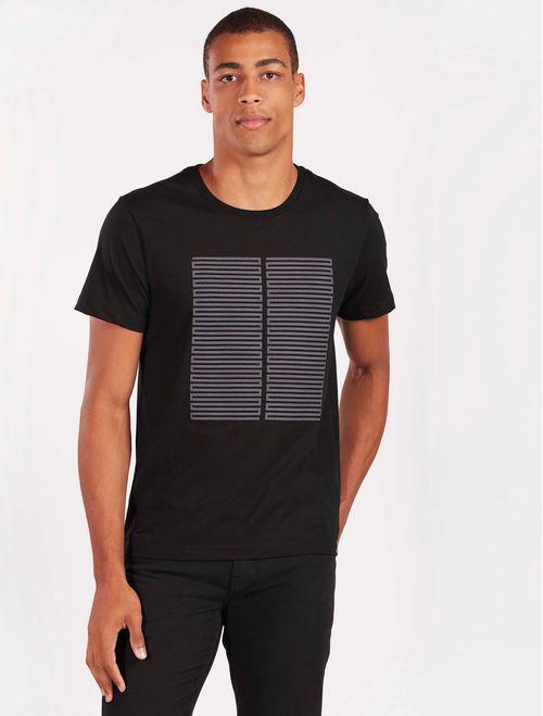 Camiseta Antiviral Estampada Geométrica Malha Tinturada Preto