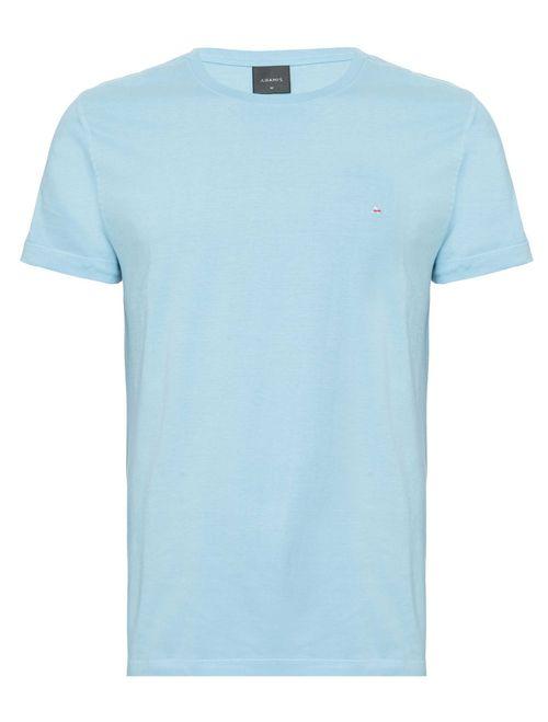 Camiseta Básica Lisa Manga Curta Malha Azul Bebe