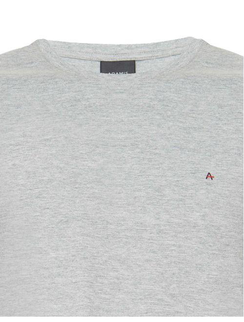 Camiseta Básica Lisa Manga Curta Malha Cinza Mescla