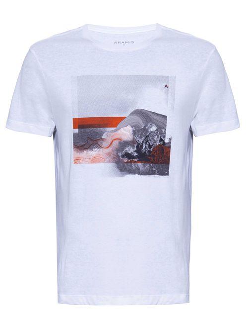 Camiseta Manga Curta Estampada Abstrato Malha Branco