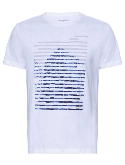 Camiseta Manga Curta Estampada Abstrata Malha Branco