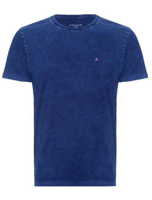 Camiseta Manga Curta Malha Indigo Lisa Azul Indigo