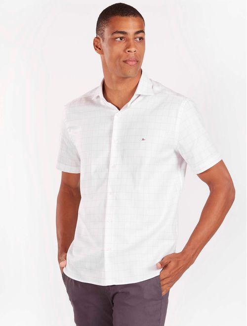 Camisa Manga Curta Casual Regular Xadrez Branco Com Vermelho