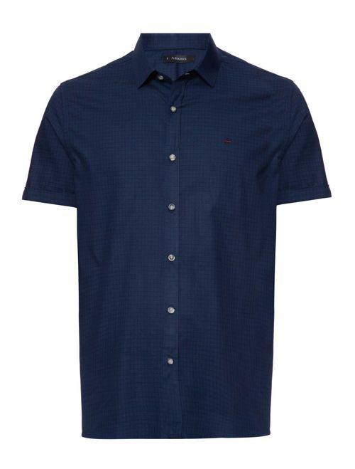 Camisa Xadrez Manga Curta Casual Regular Azul