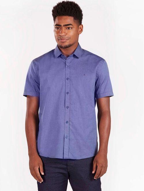 Camisa Manga Curta Lisa Casual Regular Fil a Fil Azul Indigo