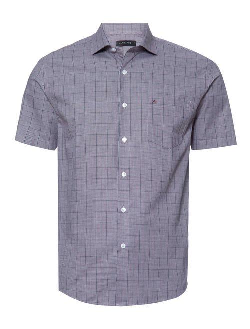Camisa Manga Curta Casual Regular Xadrez Vinho