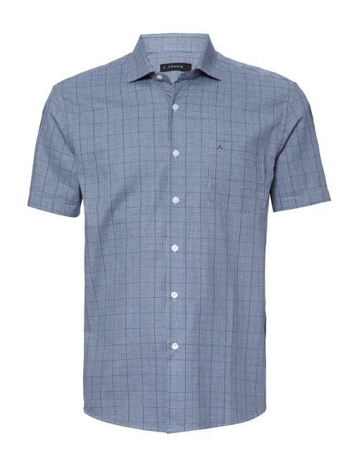 Camisa Manga Curta Casual Regular Xadrez Azul