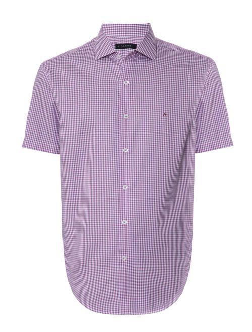 Camisa Manga Curta Casual Regular Xadrez Rosa