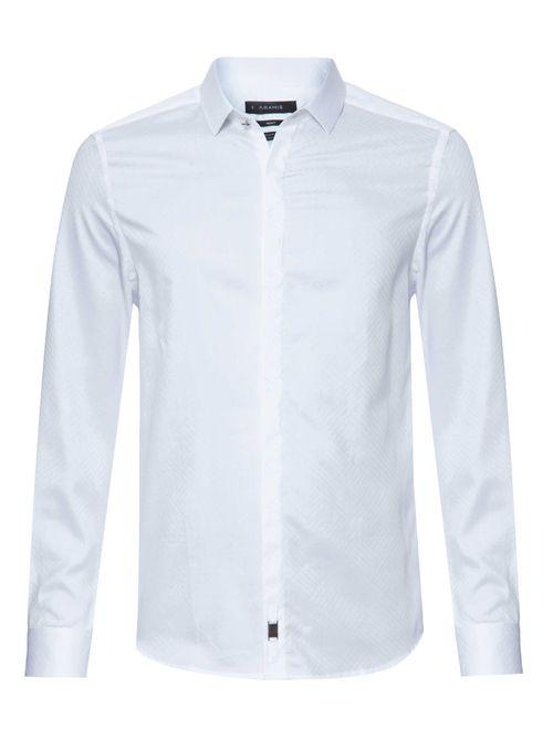 Camisa Manga Longa Night Super Slim Algodão Egípcio Fio 70 Branco