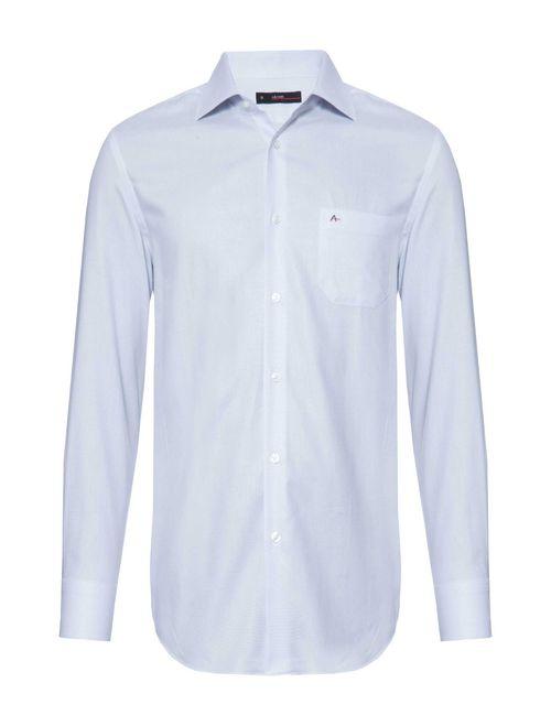Camisa Manga Longa Social Regular Maquinetada Cinza