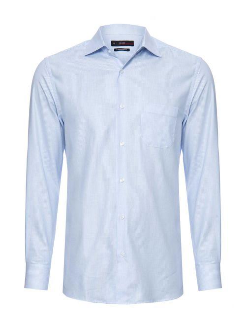Camisa Manga Longa Social Regular Em Algodão Egípcio Azul