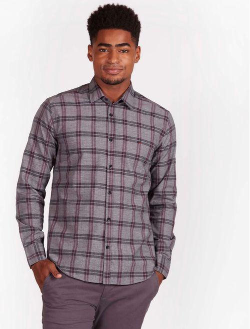 Camisa Xadrez Manga Longa Jeanswear Slim Bordeaux