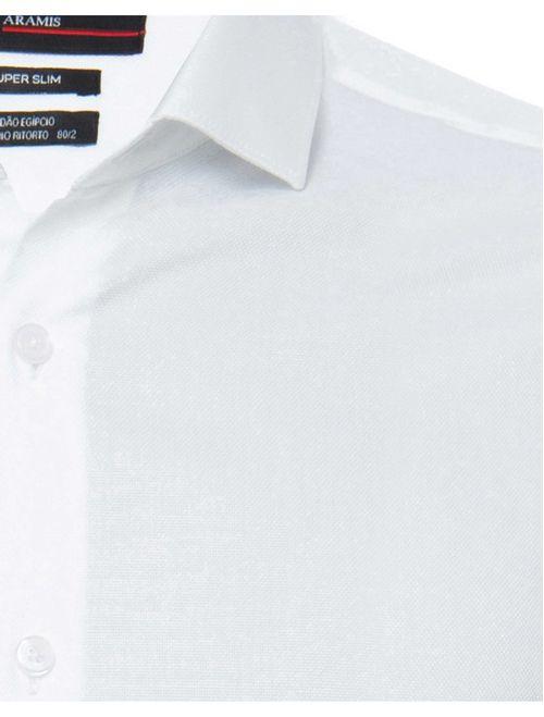Camisa Manga Longa Social Super Slim Algodão Egípcio Fio 80 Branco