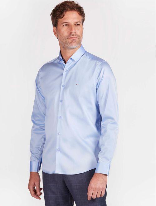 Camisa Manga Longa Social Super Slim Algodão Egípcio Azul Claro