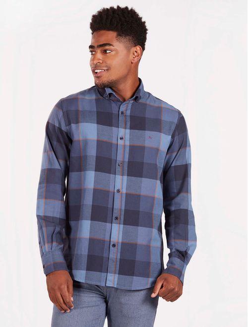 Camisa Xadrez Manga Longa Casual Regular Azul