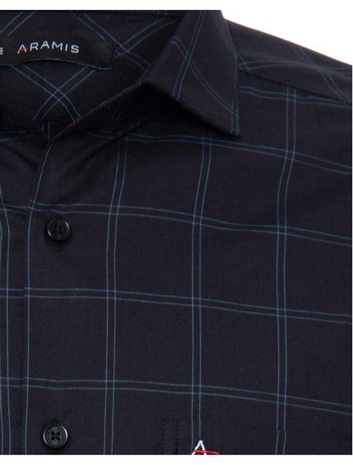 Camisa Manga Longa Casual Regular Xadrez Preto
