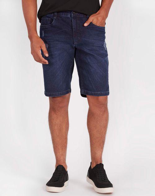 Bermuda Jeans 5pockets Estonada Azul Medio
